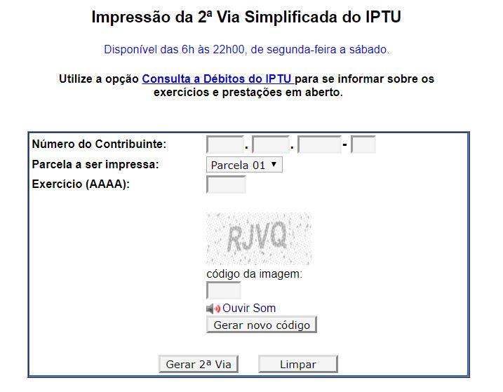 Segunda Via IPTU São Paulo