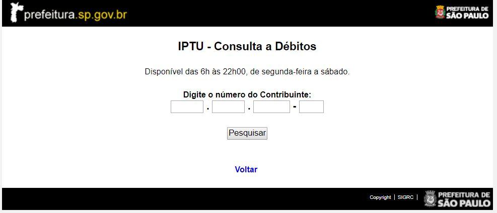 Exemplo: Consulta IPTU São Paulo